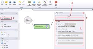 List processing delete lines
