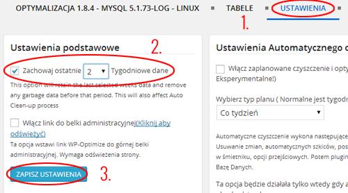 WP-optimize Ustawienia